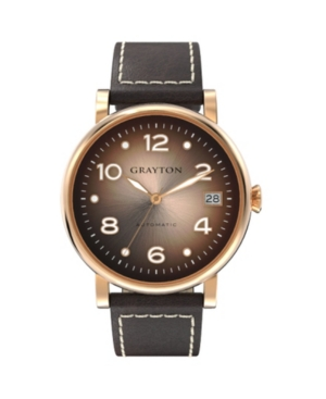 Women's Radiance Collection Brown Flat Cut-Edge Leather Strap Watch 36mm