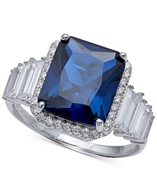 Cubic Zirconia Blue Statement Ring in Sterling Silver