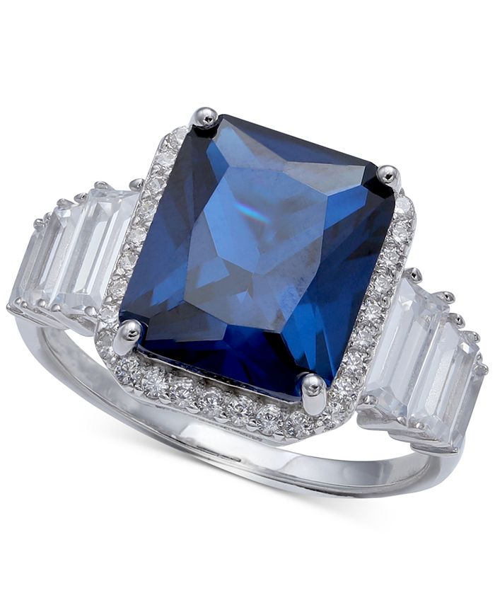 Macy's - Cubic Zirconia Blue Statement Ring in Sterling Silver