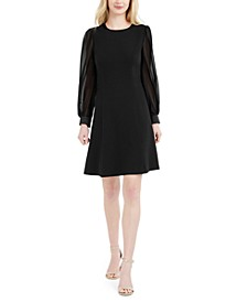 Chiffon-Sleeve Dress