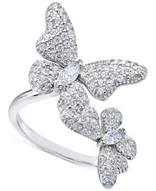 Cubic Zirconia Pave Butterfly Ring in Sterling Silver