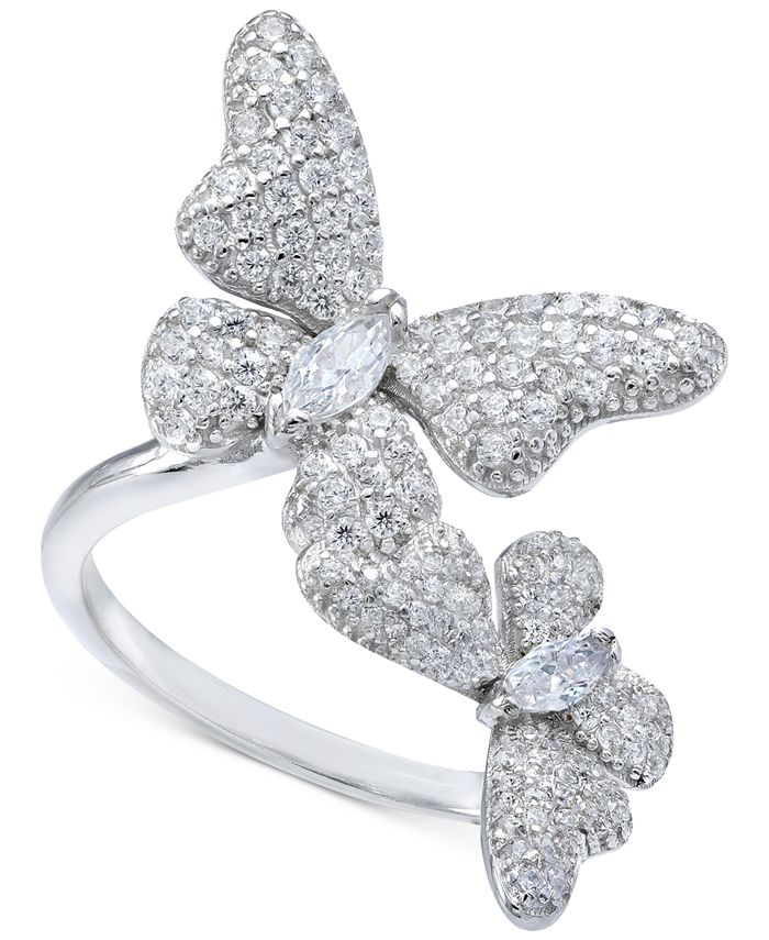Macy's - Cubic Zirconia Butterfly Statement Ring in Sterling Silver