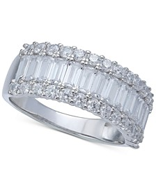 Cubic Zirconia Baguette Band in Sterling Silver