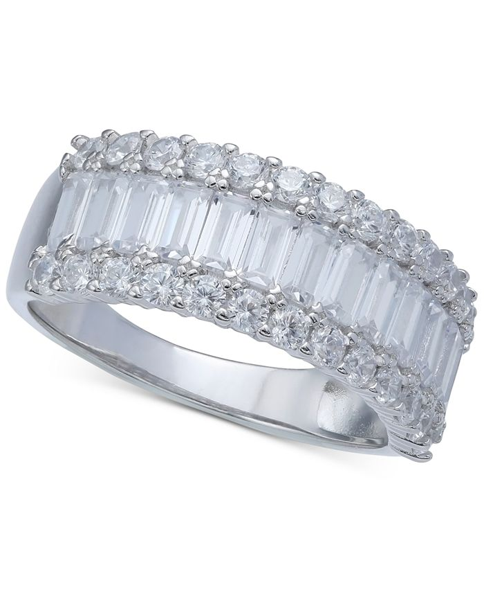 Macy's - Cubic Zirconia Baguette Band in Sterling Silver