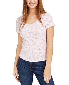 Juniors' Lace Trim Rib-Knit Top