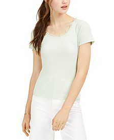 Juniors' Lace-Trimmed Rib-Knit T-Shirt