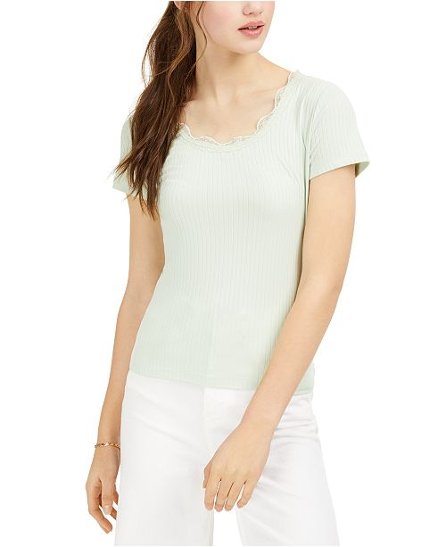 Ultra Flirt Juniors' Lace-Trimmed Rib-Knit T-Shirt