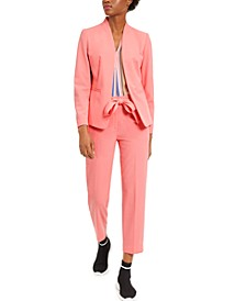 Collarless Open Jacket With Striped Blouse and Tie-Belt Waist, Created for Macy's