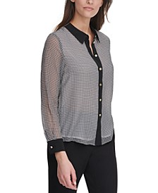 Gingham Button-Down Blouse