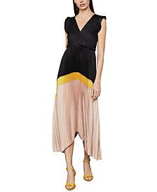 BCBGMAXAZRIA Colorblocked Pleated Satin Dress