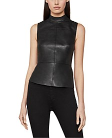 Mock-Neck Faux-Leather Top