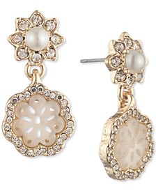 Gold-Tone Crystal & Mother-of-Pearl Lace Drop Earrings