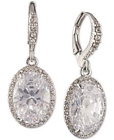 Silver-Tone Cubic Zirconia Oval Drop Earrings