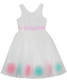 Little Girls Sequin and Pom-Pom Dress