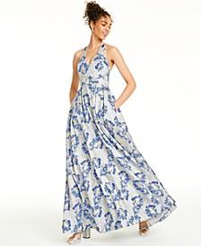 Juniors' Metallic Floral Brocade Halter Gown, Created For Macy's
