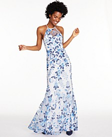 Juniors' Allover-Embroidered Halter Gown, Created for Macy's