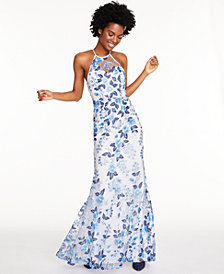 Sequin Hearts Juniors' Allover-Embroidered Halter Gown, Created for Macy's