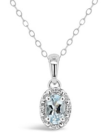Aquamarine (3/8 ct. t.w.) and Diamond Accent Pendant Necklace in Sterling Silver (Also Available in Emerald)