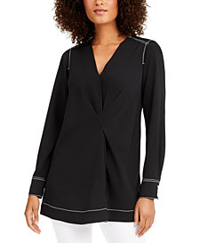 Alfani Contrast-Stitch Tunic, Created for Macy's
