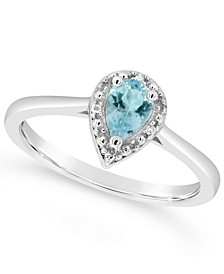 Aquamarine (1/3 ct. t.w.) and Diamond Accent Pear Teardrop Ring in Sterling Silver (Also Available in Other Gemstones)