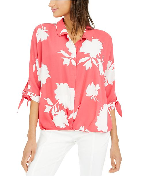 Alfani Petite Roll-Front Blouse, Created for Macy's