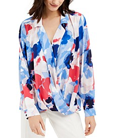 Petite Printed Surplice Top, Created for Macy's