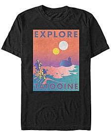 Men's Star Wars Explore Tatooine Faded Retro C-3PO R2-D2 Poster Short Sleeve T-shirt