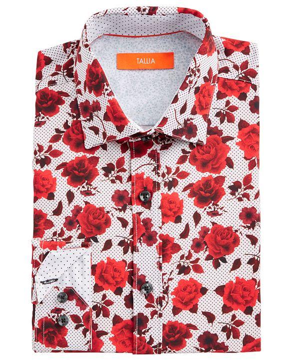 Tallia Men's Slim-Fit No-Iron Performance Stretch White Rose Print Dress Shirt