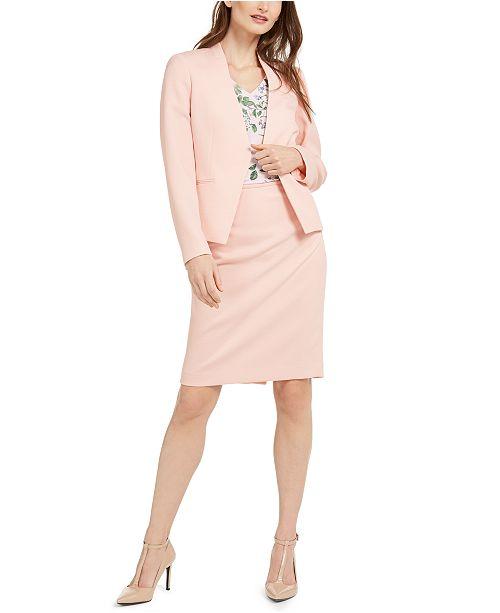 Calvin Klein Textured Asymmetrical Blazer, Floral-Print V-Neck Blouse & Textured Pencil Skirt