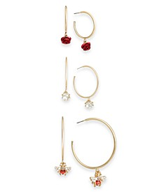 Two-Tone 3-Pc. Set Crystal, Imitation Pearl, Bee & Rosette Charm Hoop Earrings, Created for Macy's