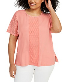 Plus Size Classics Lace-Embellished Top