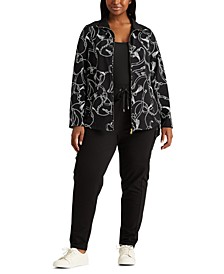 Plus-Size Cotton-Blend Mockneck Jacket