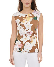 Printed Wrap-Detail Sleeveless Top