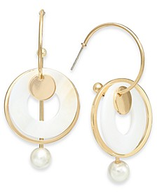 Gold-Tone Imitation Pearl Circle Drop Earrings, Created for Macy's