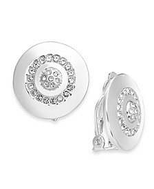 Gold-Tone Crystal Accented Disc Clip-On Earrings, Created for Macy's