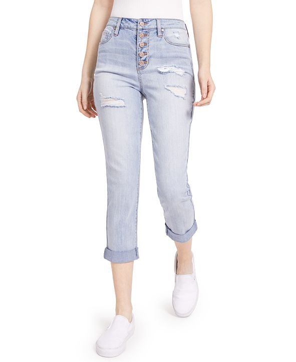 Dollhouse Juniors' High Rise Roll-Cuff Button-Fly Jeans