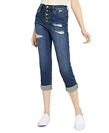 Juniors' Roll-Cuff Button-Fly Jeans