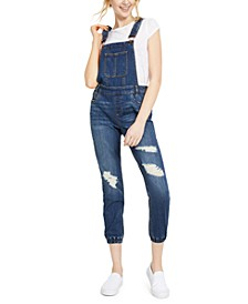 Juniors' Destructed Jogger Overalls