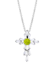 "Birthstone Cross 18"" Pendant In Fine Silver Plate"