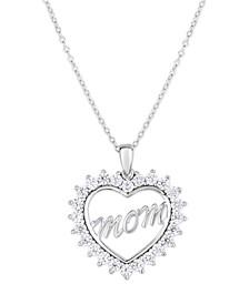 Cubic Zirconia Mom Heart Pendant In Fine Silver Plate