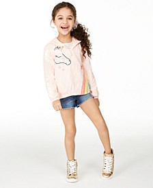 Little Girls Unicorn Ruffle Windbreaker Jacket, Created for Macy's