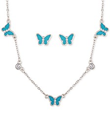 Silver-Tone Crystal & Butterfly Collar Necklace & Stud Earrings Set