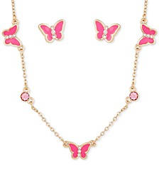 Gold-Tone Crystal Butterfly Collar Necklace & Stud Earrings Set