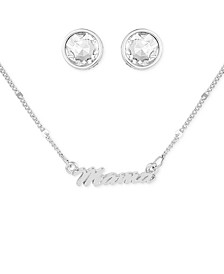 Silver-Tone Mama Collar Necklace & Crystal Stud Earrings Set