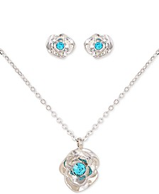 "Silver-Tone 2-Pc. Set Aqua Crystal Flower Stud Earrings & Pendant Necklace, 18"" + 2"" extender"