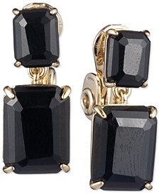 Emerald-Cut Stone Clip-On Double Drop Earrings