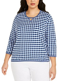 Plus Size Easy Street Gingham Sweater