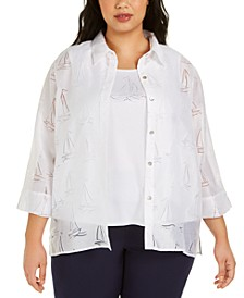 Plus Size Ship Shape Burnout-Print Layered Top