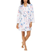 Deals on Charter Club Cotton Floral-Print Wrap Robe