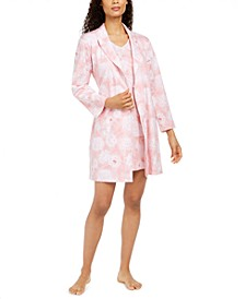 Cotton Floral-Print Wrap Robe, Created for Macy's